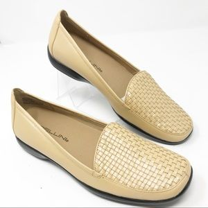 BELLINI BELINDA Tan Woven Leather Loafers New 7 M